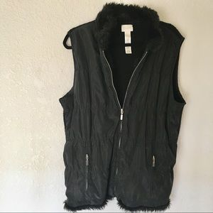 Chico's black long zip up vest size 2 or large